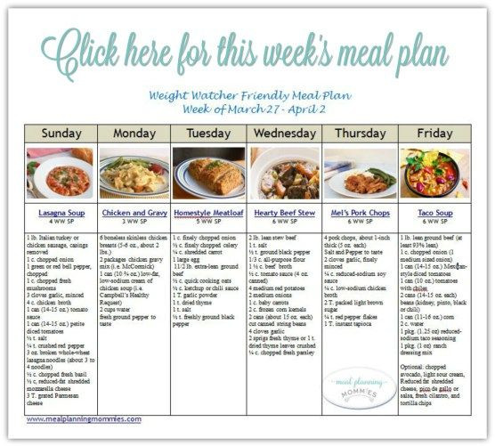 Weight Watchers Meal Planning Template Pin On Weight Watchers Meal Plans
