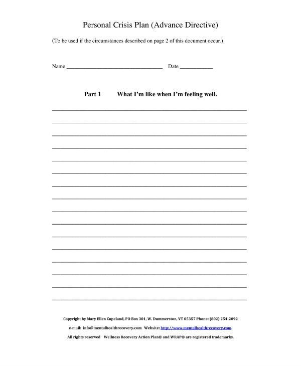 Wellness Plan Template Mental Health Wellness Recovery Action Plan Worksheet In 2020