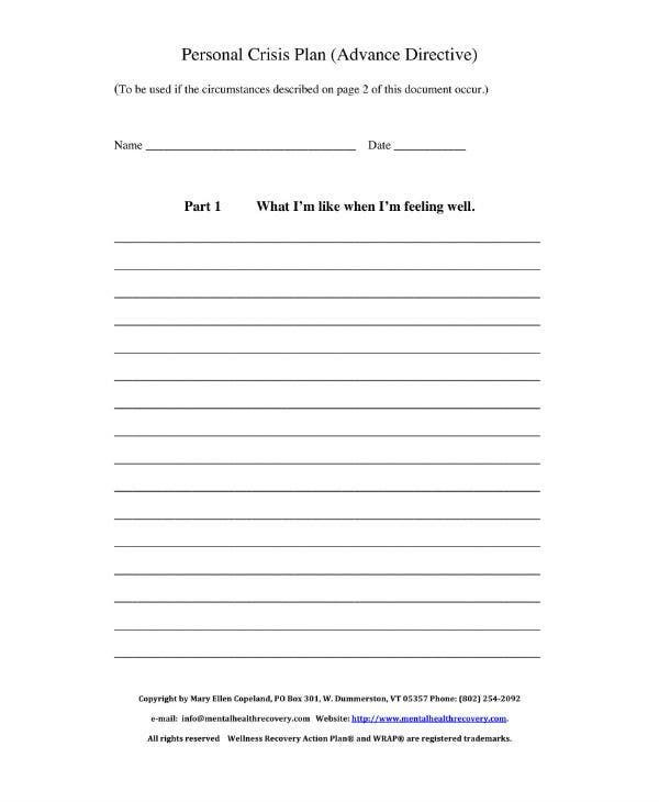 Wellness Recovery Action Plan Template 11 Wellness Recovery Action Plan Templates Pdf Word Free 10