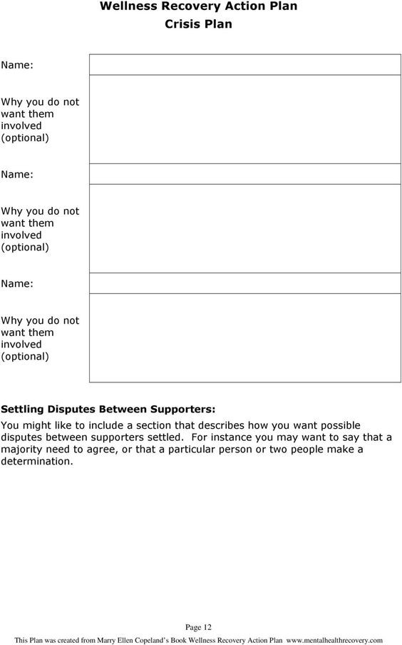 Wellness Recovery Action Plan Template Wellness Recovery Action Plan Worksheet Worksheetfun In