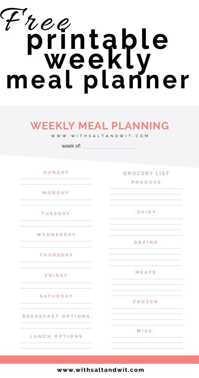 Whole 30 Meal Planning Template Free Printable Weekly Meal Planner with Grocery List
