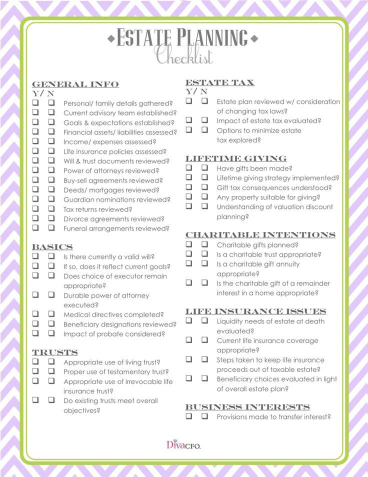 Will and Estate Planning Template Estate Planning Checklist