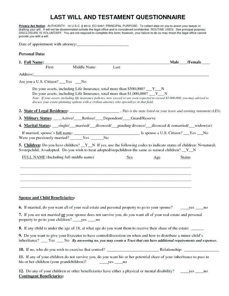 Will and Estate Planning Template Free Download Will forms Free Printable Last Will and