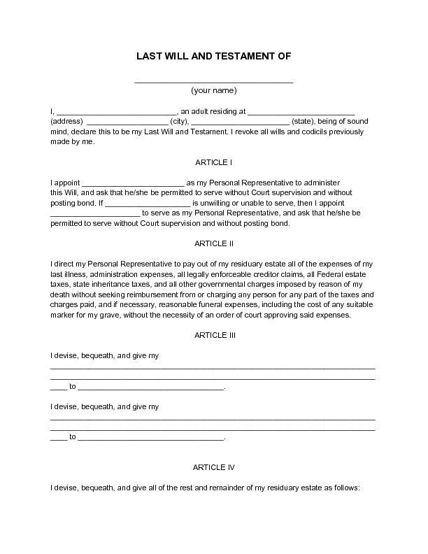 Will and Estate Planning Template Free Printable Will Template New Printable Sample Last Will