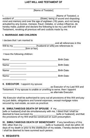 Will and Estate Planning Template Last Will and Testament Template form Colorado