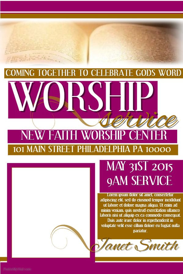 Worship Service Planning Template Church Flyer Template social Media Post