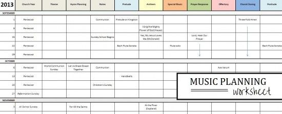 Worship Service Planning Template for the Church Musician A Planning Worksheet