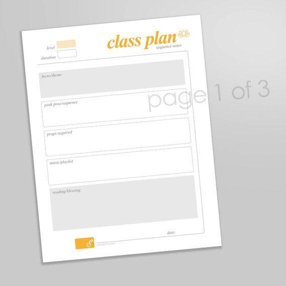 Yoga Class Plan Template Yoga Class Planner Yoga Teacher Class Planner Yoga Class