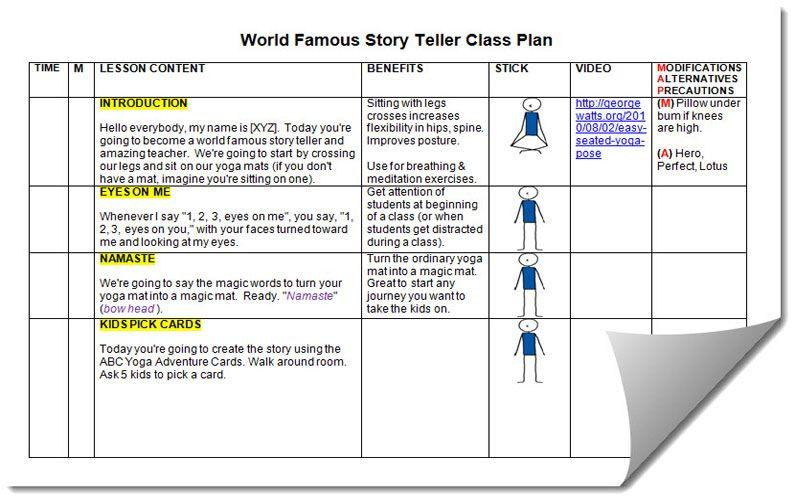 Yoga Class Plan Template Yoga Lesson Plan Templates Google Search
